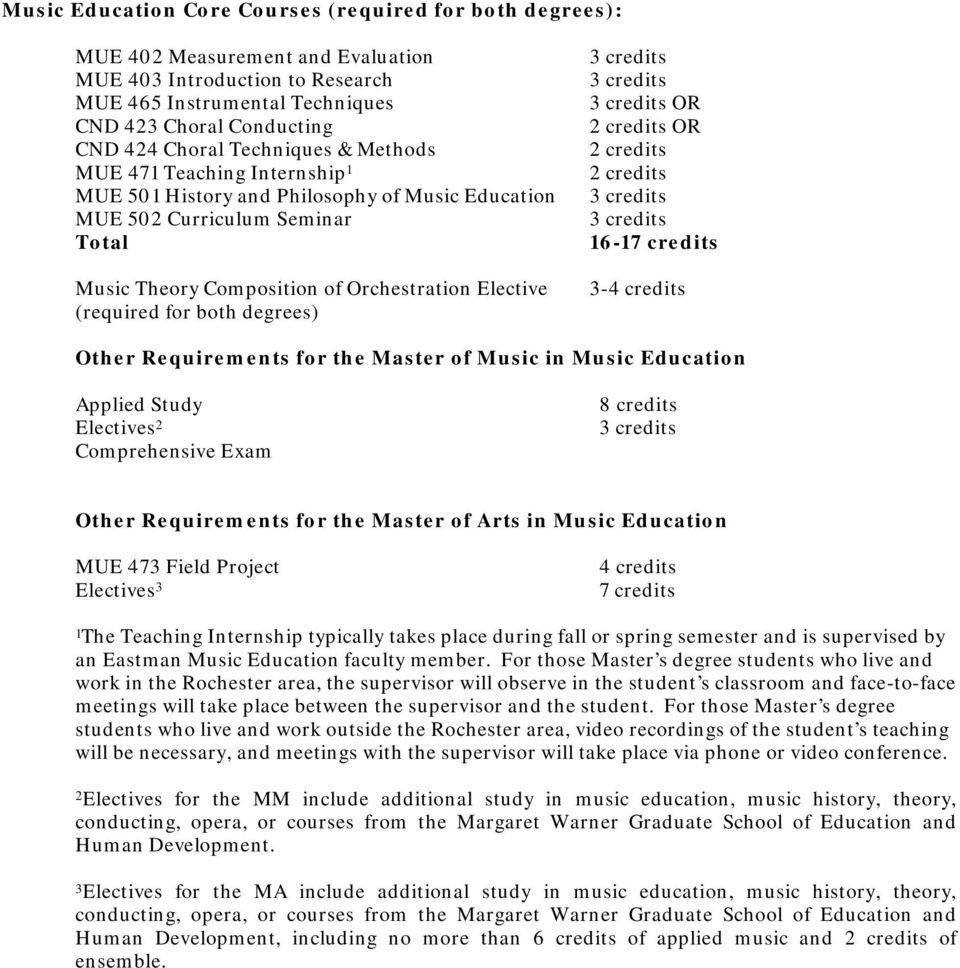 both degrees) OR 2 credits OR 2 credits 2 credits 16-17 credits 3-4 credits Other Requirements for the Master of Music in Music Education Applied Study Electives 2 Comprehensive Exam 8 credits Other