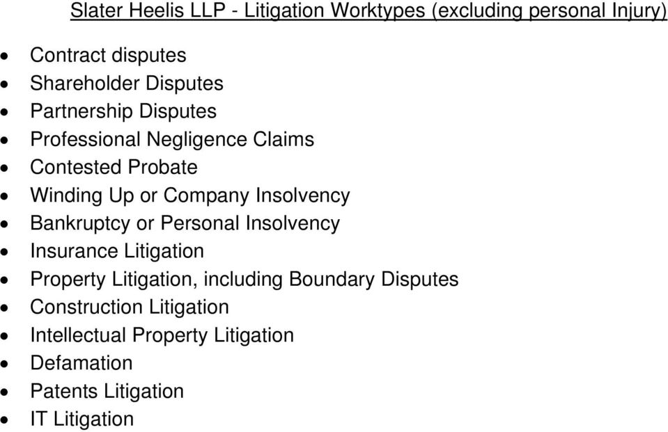 Insolvency Bankruptcy or Personal Insolvency Insurance Litigation Property Litigation, including