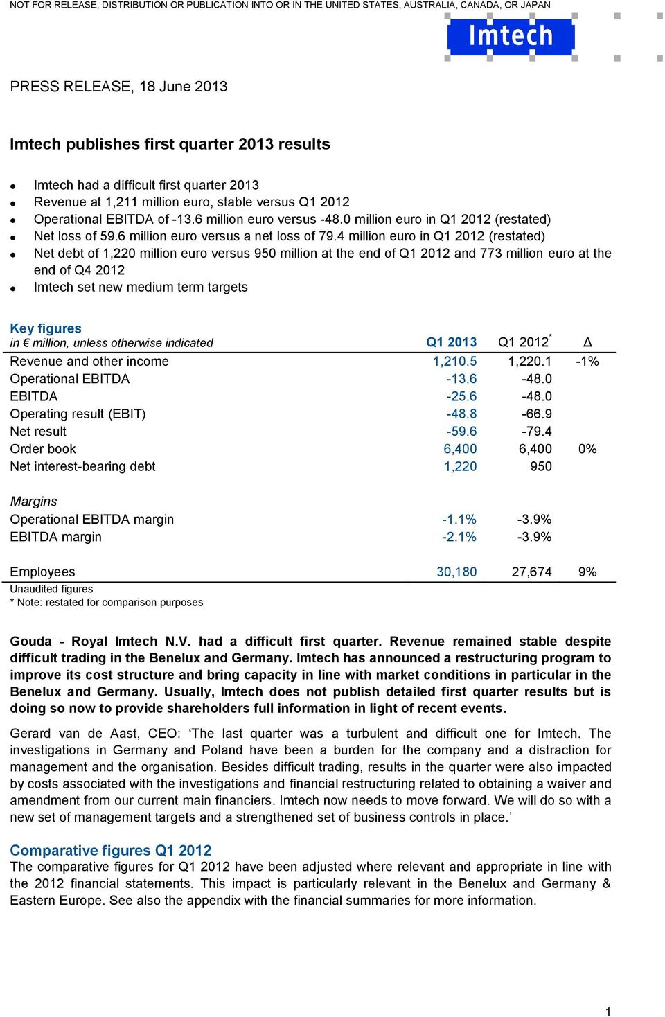 4 million euro in Q1 2012 (restated) Net debt of 1,220 million euro versus 950 million at the end of Q1 2012 and 773 million euro at the end of Q4 2012 Imtech set new medium term targets Key figures