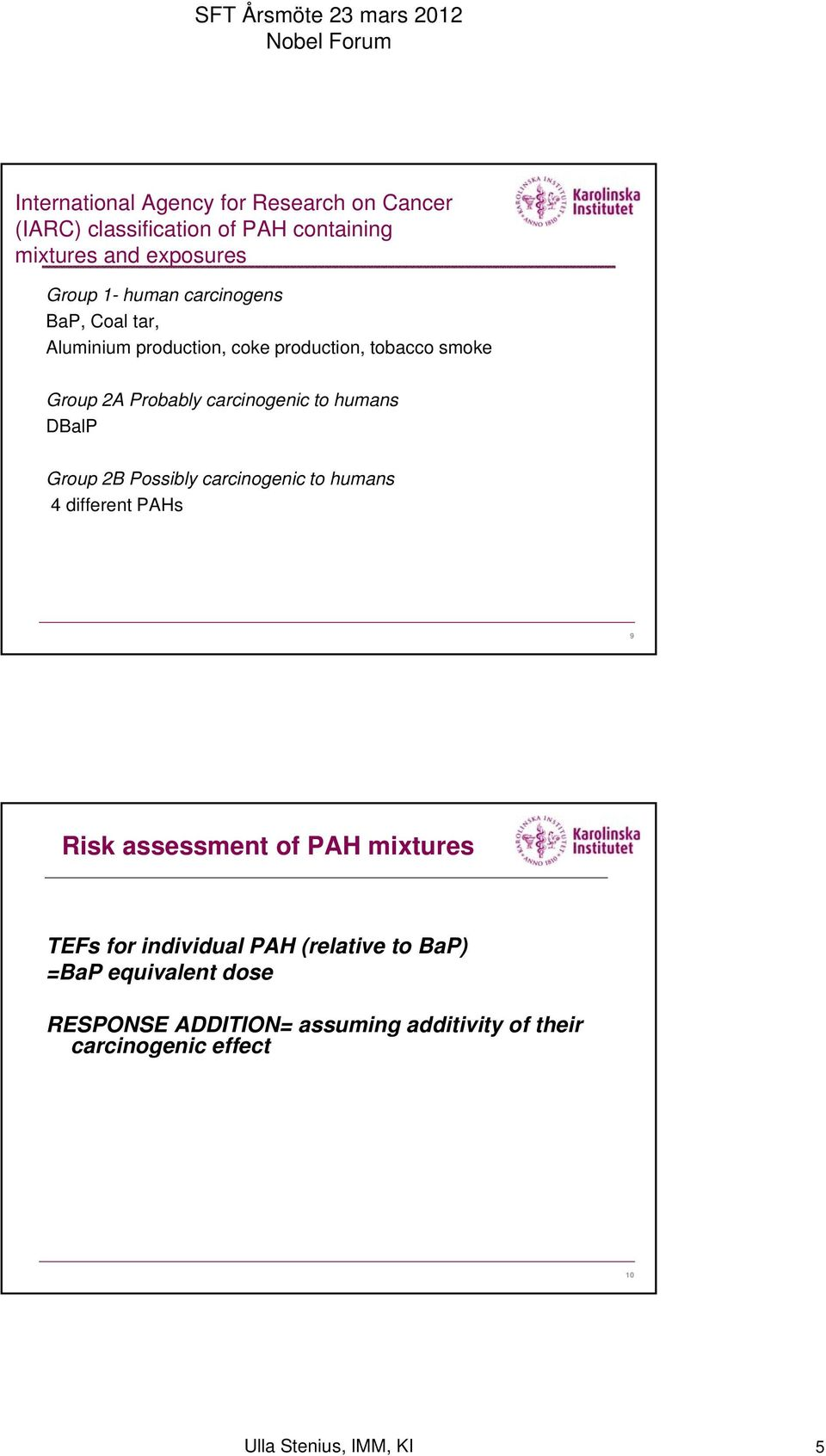 DBalP Group 2B Possibly carcinogenic to humans 4 different PAHs 9 Risk assessment of PAH mixtures TEFs for individual PAH