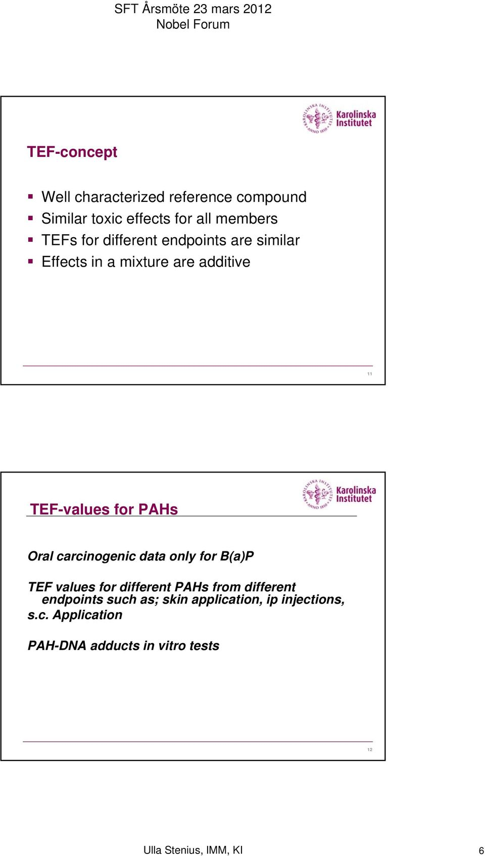 carcinogenic data only for B(a)P TEF values for different PAHs from different endpoints such as;