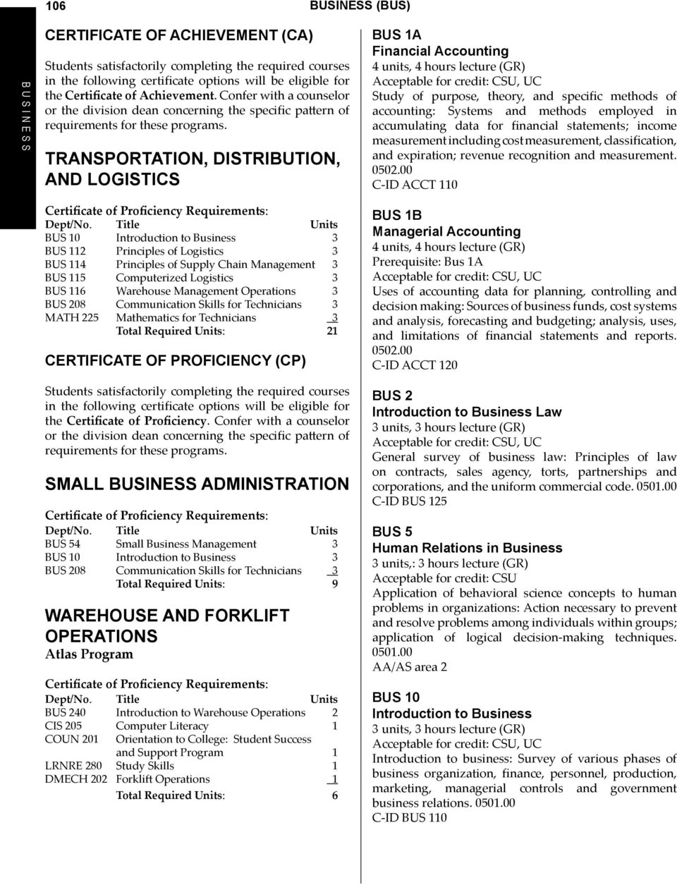 Transportation, Distribution, and LOGISTICS Certificate of Proficiency Requirements: BUS 112 Principles of Logistics 3 BUS 114 Principles of Supply Chain Management 3 BUS 115 Computerized Logistics 3