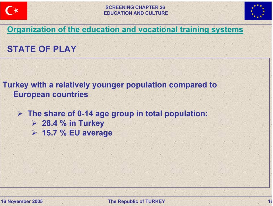 population compared to European countries The share of 0-14