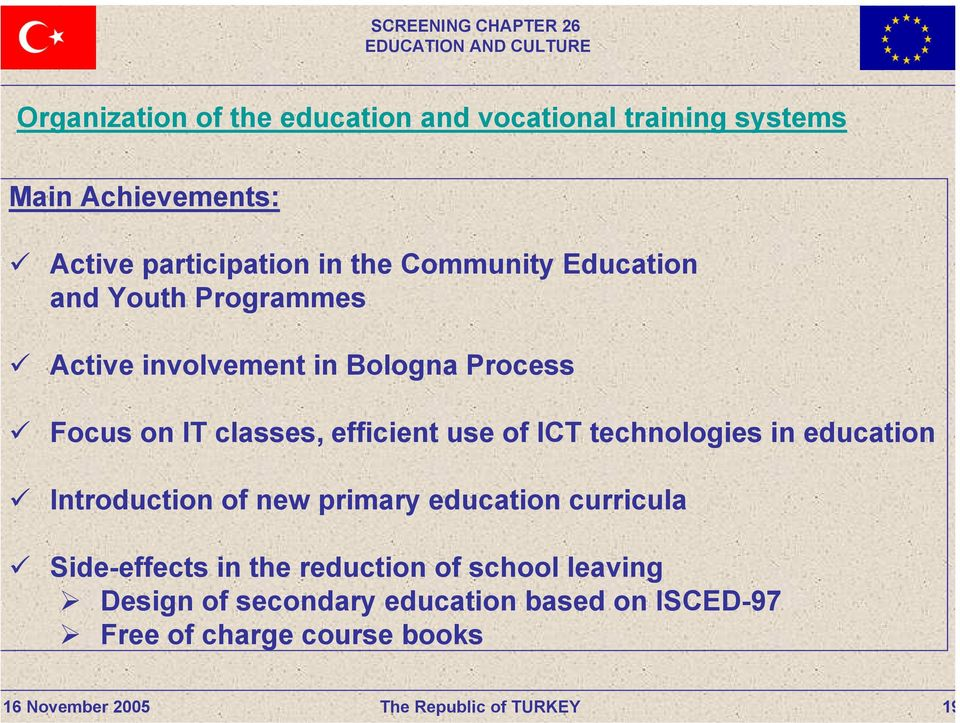 efficient use of ICT technologies in education Introduction of new primary education curricula Side-effects
