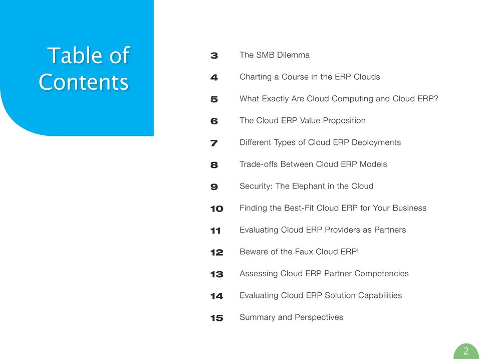 The Cloud ERP Value Proposition Different Types of Cloud ERP Deployments Trade-offs Between Cloud ERP Models Security: The