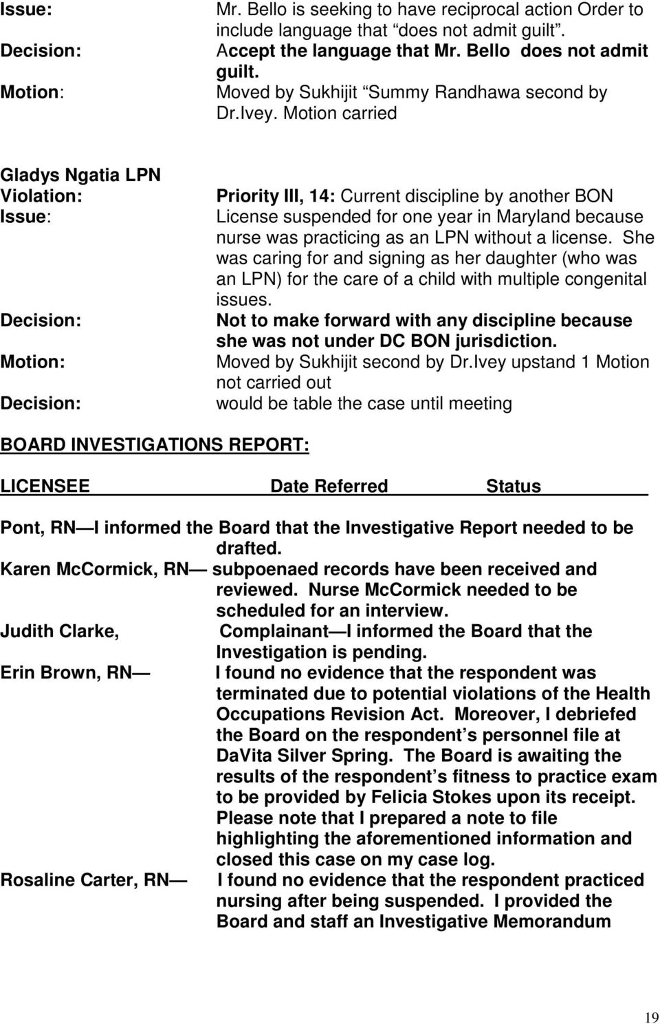 Motion carried Gladys Ngatia LPN Violation: Motion: Priority III, 14: Current discipline by another BON License suspended for one year in Maryland because nurse was practicing as an LPN without a