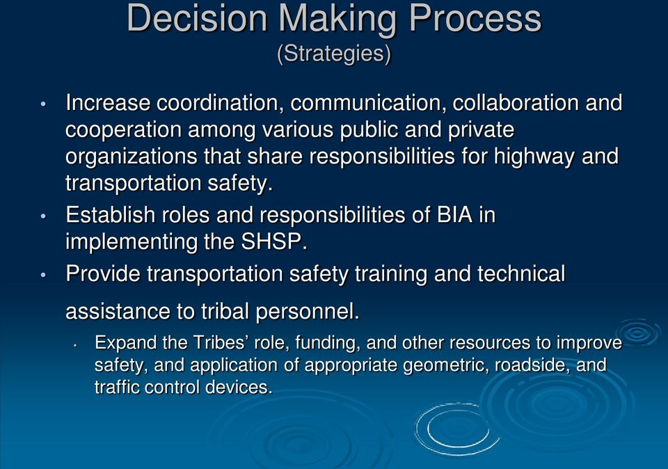Establish roles and responsibilities of BIA in implementing the SHSP.