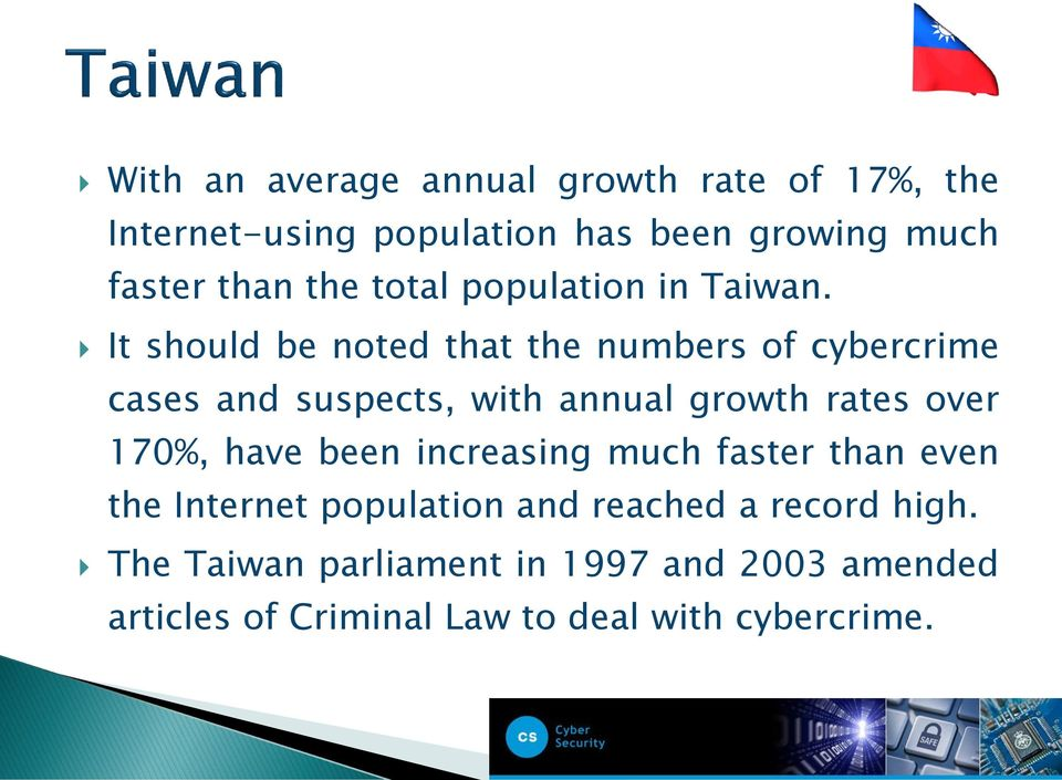 It should be noted that the numbers of cybercrime cases and suspects, with annual growth rates over 170%,
