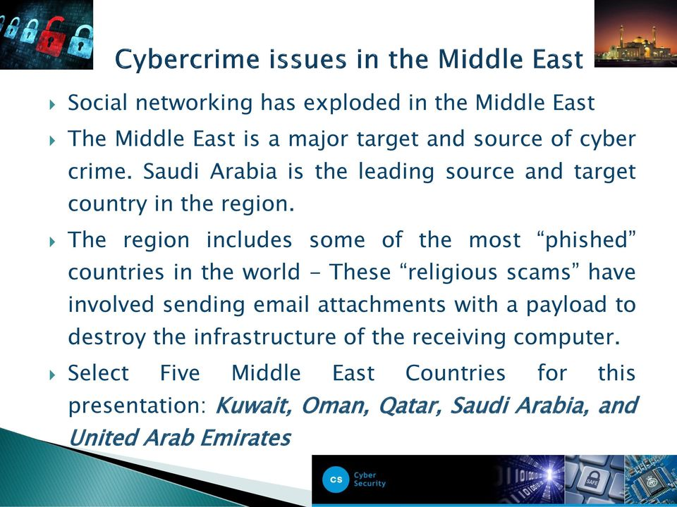 The region includes some of the most phished countries in the world - These religious scams have involved sending email