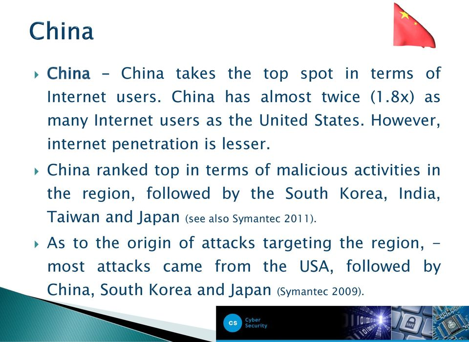 China ranked top in terms of malicious activities in the region, followed by the South Korea, India, Taiwan and