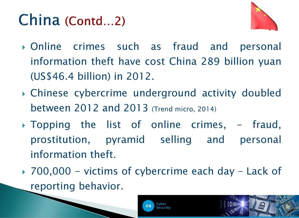 Chinese cybercrime underground activity doubled between 2012 and 2013 (Trend micro, 2014)