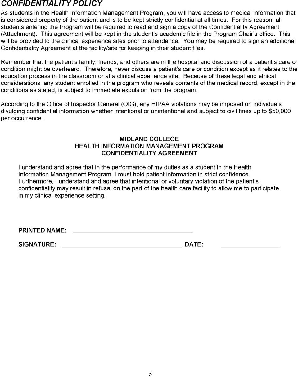 This agreement will be kept in the student s academic file in the Program Chair s office. This will be provided to the clinical experience sites prior to attendance.