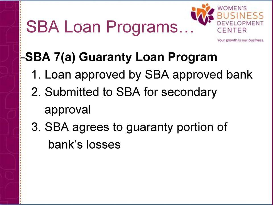 Loan approved by SBA approved bank 2.