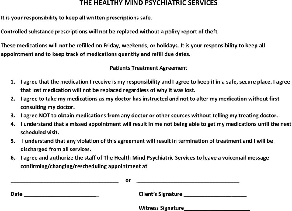 Patients Treatment Agreement 1. I agree that the medication I receive is my responsibility and I agree to keep it in a safe, secure place.