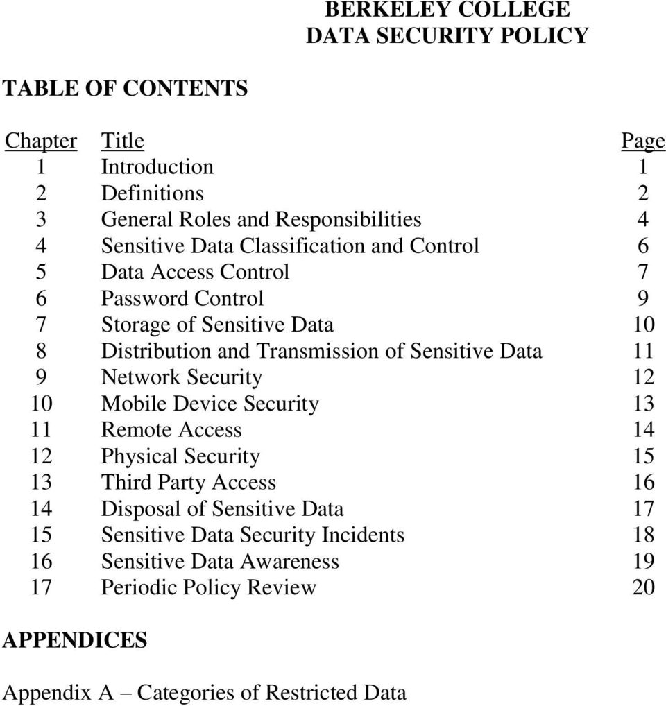 Sensitive Data 11 9 Network Security 12 10 Mobile Device Security 13 11 Remote Access 14 12 Physical Security 15 13 Third Party Access 16 14 Disposal of