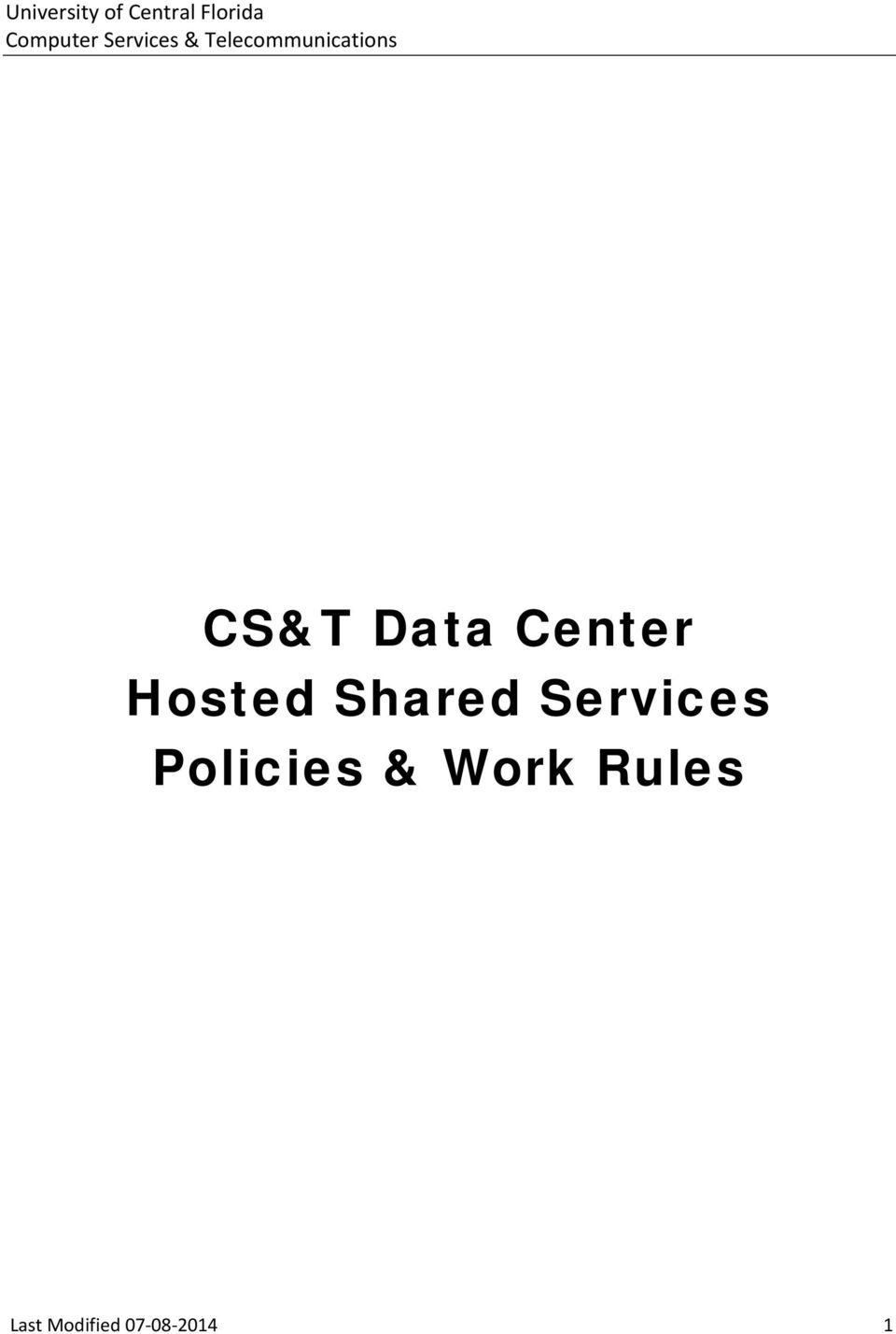 Services Policies &