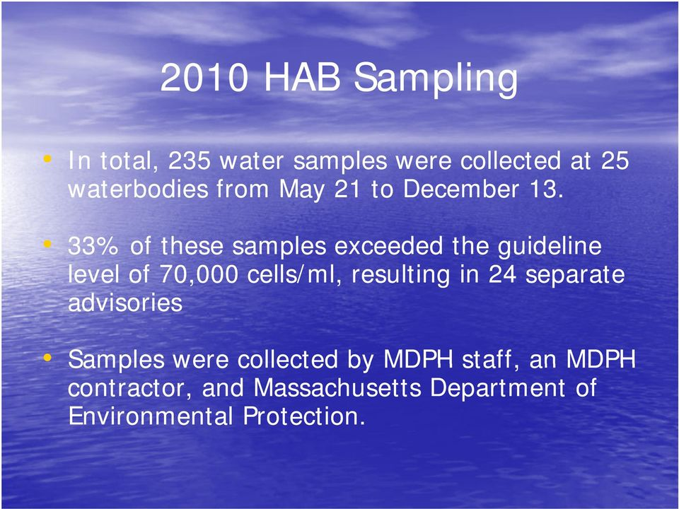 33% of these samples exceeded the guideline level of 70,000 cells/ml, resulting