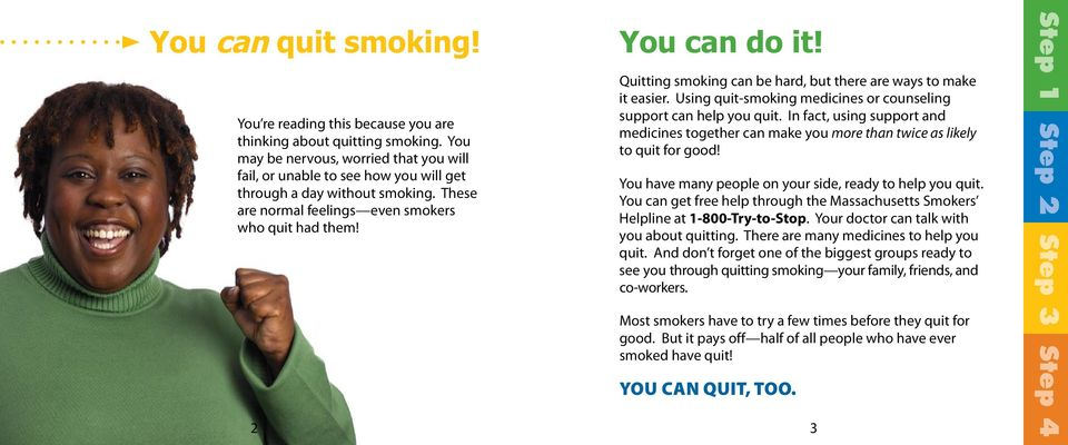 Quitting smoking can be hard, but there are ways to make it easier. Using quit-smoking medicines or counseling support can help you quit.