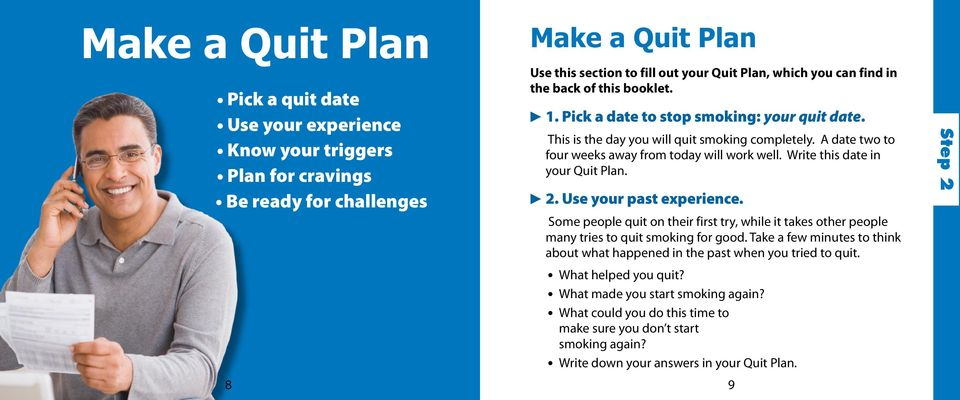 Write this date in your Quit Plan. c 2. Use your past experience. Some people quit on their first try, while it takes other people many tries to quit smoking for good.