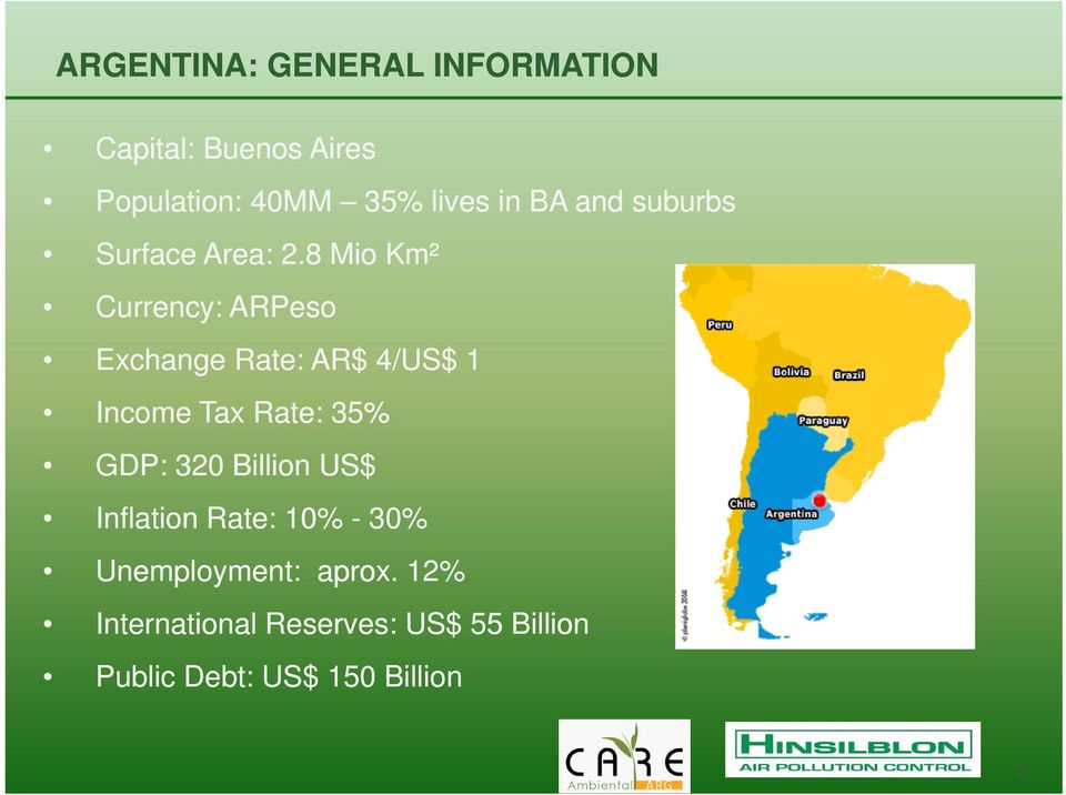 8 Mio Km² Currency: ARPeso Exchange Rate: AR$ 4/US$ 1 Income Tax Rate: 35% GDP: