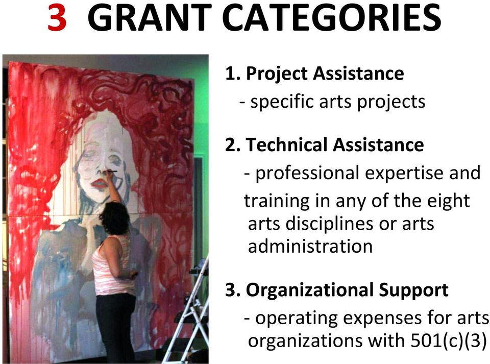 of the eight arts disciplines or arts administration 3.