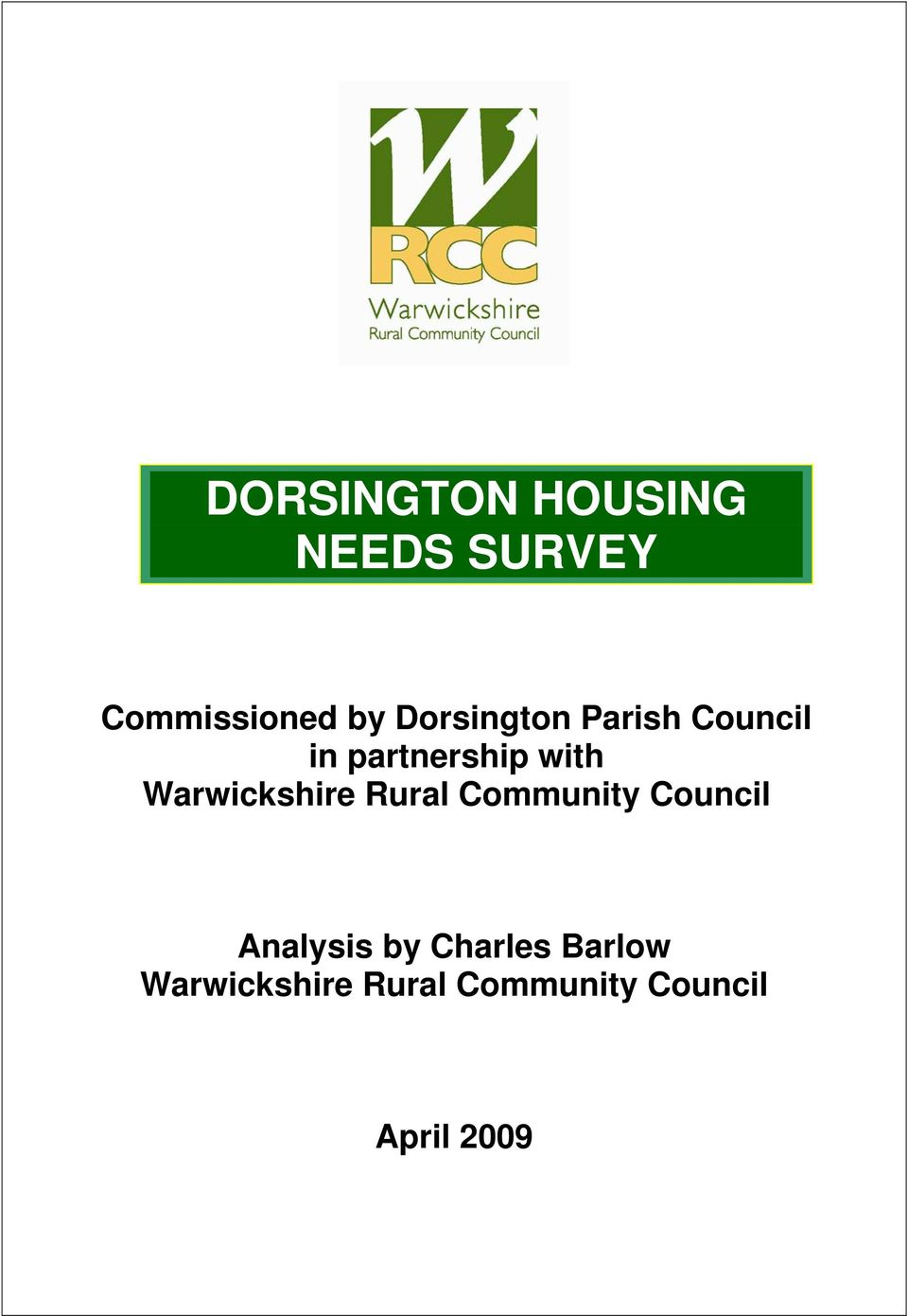 Warwickshire Rural Community Council Analysis by