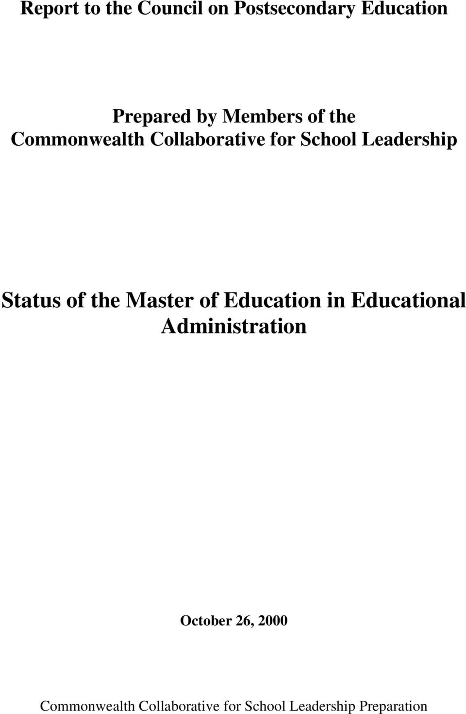Status of the Master of Education in Educational Administration