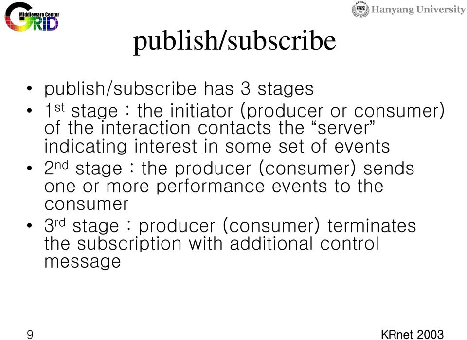 2 nd stage : the producer (consumer) sends one or more performance events to the consumer