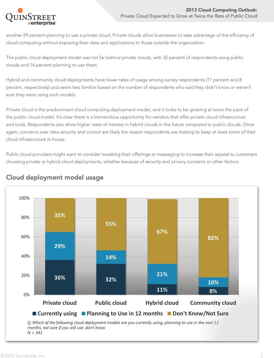 The public cloud deployment model was not far behind private clouds, with 32 percent of respondents using public clouds and 14 percent planning to use them.