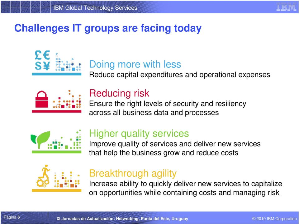 Improve quality of services and deliver new services that help the business grow and reduce costs Breakthrough agility