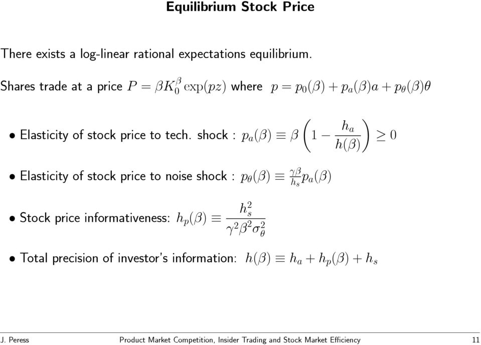 shock : p a (β) β µ 1 h a h(β) 0 Elasticity of stock price to noise shock : p θ (β) γβ h s p a (β) Stock price