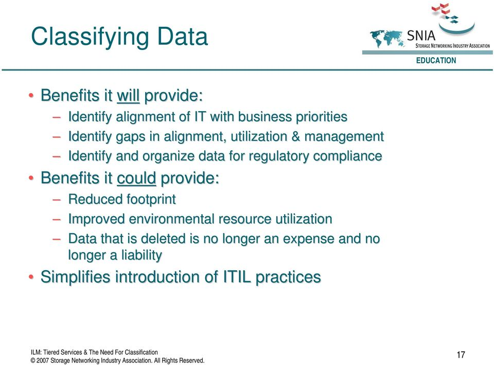 compliance Benefits it could provide: Reduced footprint Improved environmental resource utilization