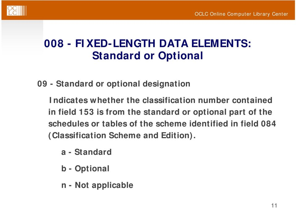 the standard or optional part of the schedules or tables of the scheme identified in