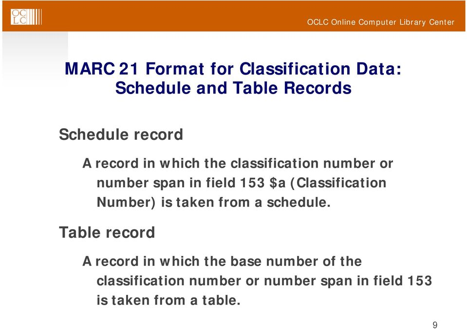 (Classification Number) is taken from a schedule.