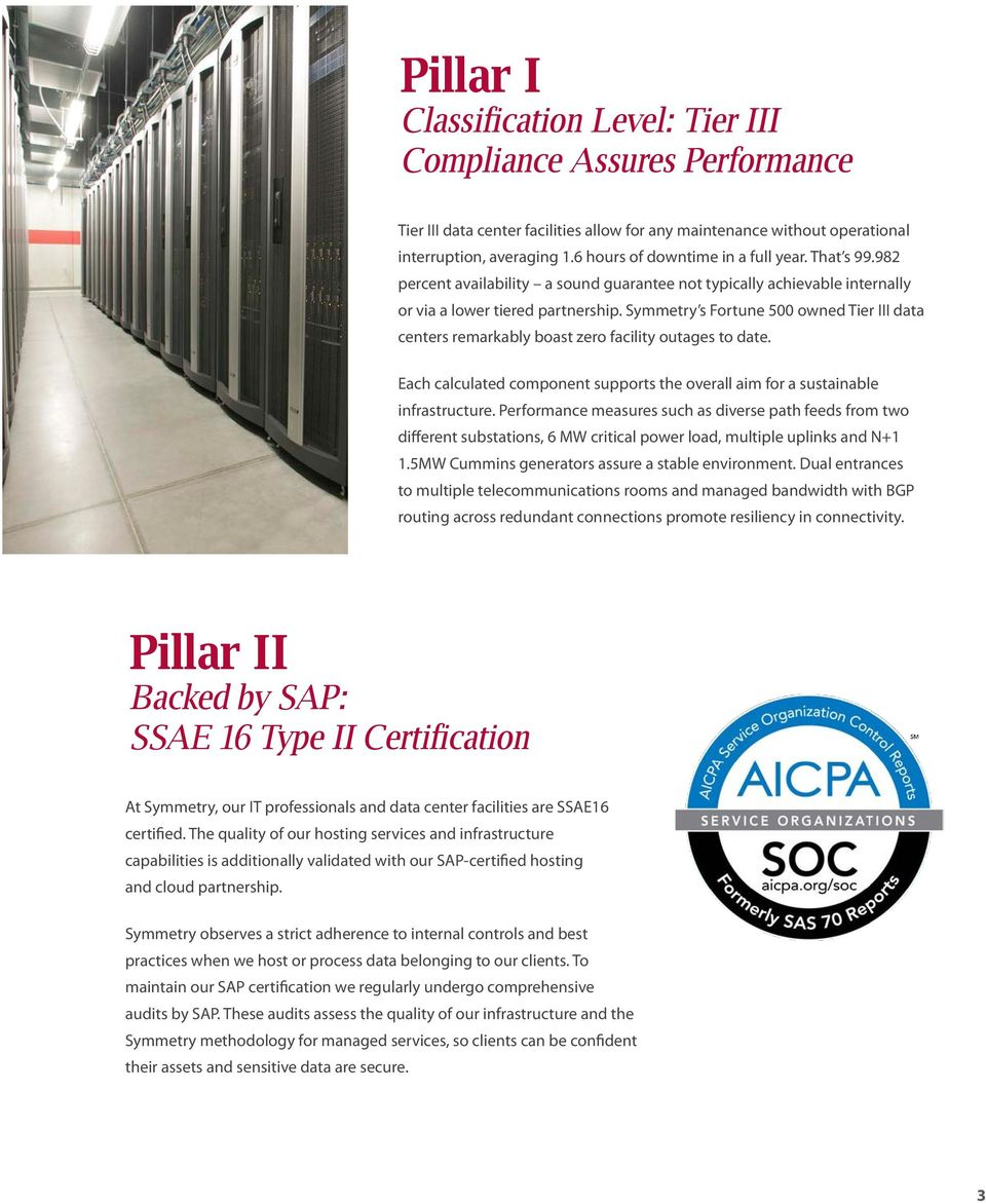 Symmetry s Fortune 500 owned Tier III data centers remarkably boast zero facility outages to date. Each calculated component supports the overall aim for a sustainable infrastructure.