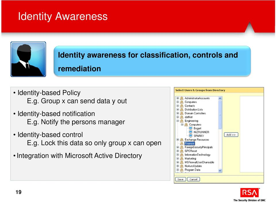 Group x can send data y out Identity-based notification E.g.