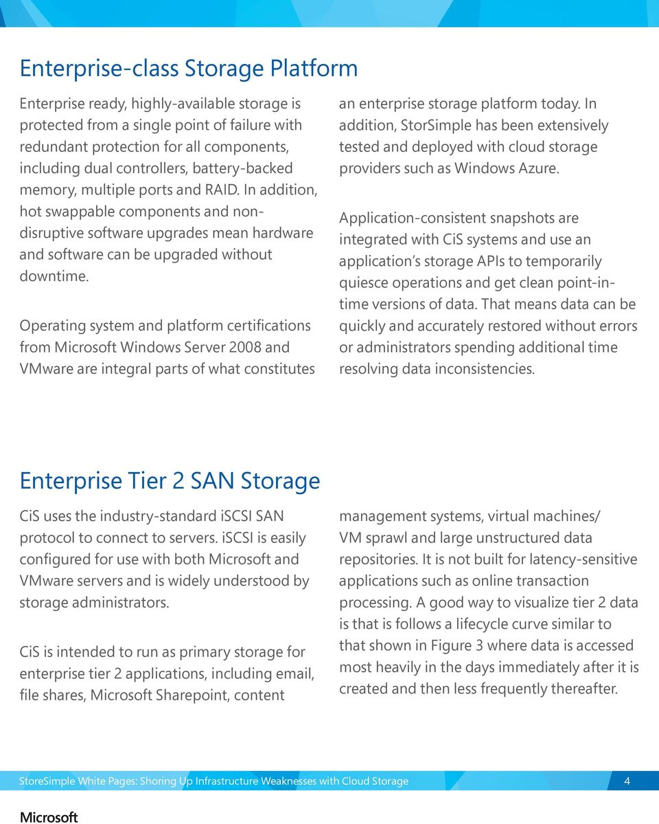 Operating system and platform certifications from Microsoft Windows Server 2008 and VMware are integral parts of what constitutes an enterprise storage platform today.