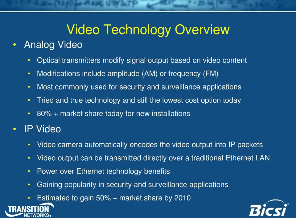 Video Video Technology Overview Video camera automatically encodes the video output into IP packets Video output can be transmitted directly over a