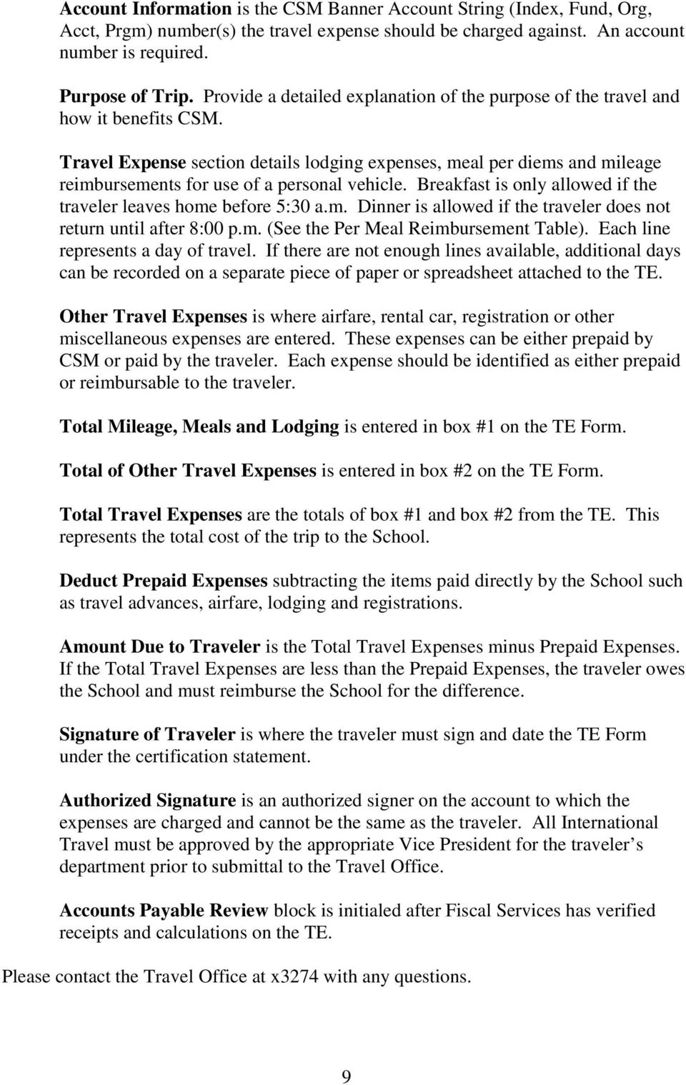 Travel Expense section details lodging expenses, meal per diems and mileage reimbursements for use of a personal vehicle. Breakfast is only allowed if the traveler leaves home before 5:30 a.m. Dinner is allowed if the traveler does not return until after 8:00 p.