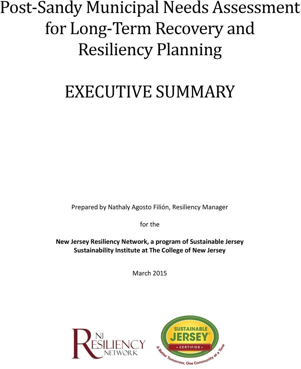 Resiliency Manager for the New Jersey Resiliency Network, a program of