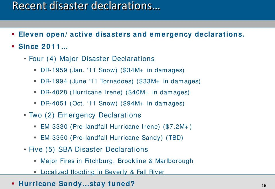 11 Snow) ($94M+ in damages) Two (2) Emergency Declarations EM-3330 (Pre-landfall Hurricane Irene) ($7.