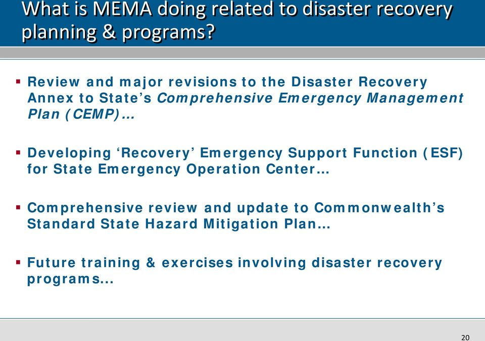 (CEMP) Developing Recovery Emergency Support Function (ESF) for State Emergency Operation Center