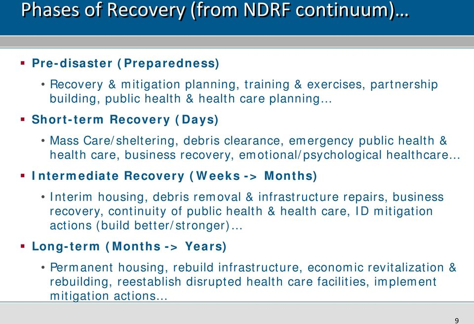 (Weeks -> Months) Interim housing, debris removal & infrastructure repairs, business recovery, continuity of public health & health care, ID mitigation actions (build better/stronger)