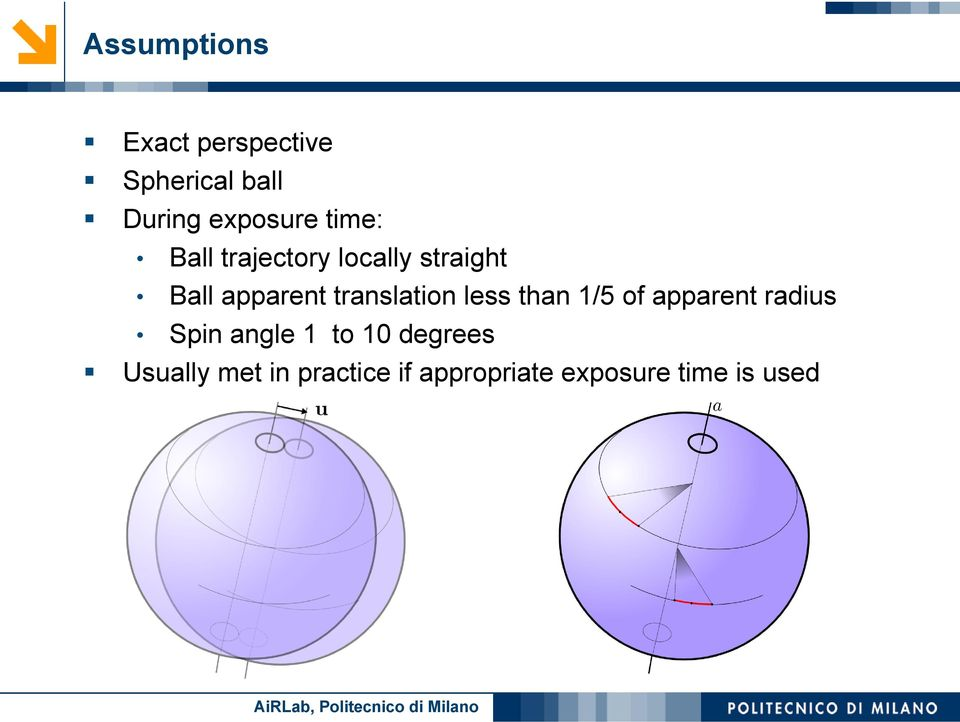 translation less than 1/5 of apparent radius Spin angle 1 to