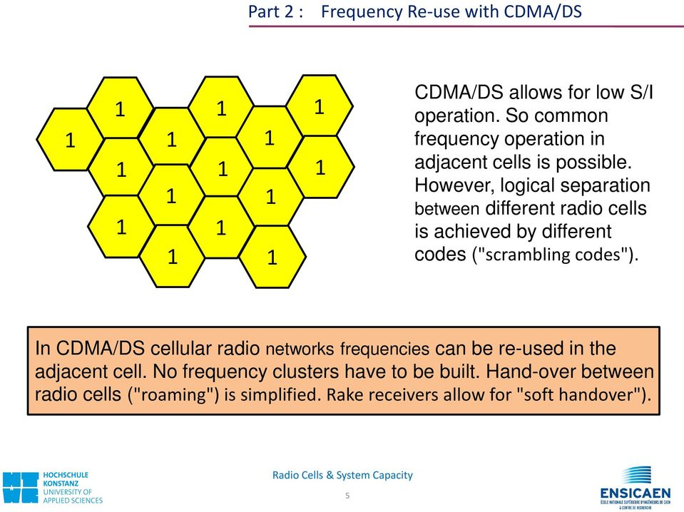 "However, logical separation between different radio cells is achieved by different codes (""scrambling codes"")."
