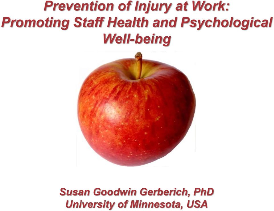 Psychological Well-being Susan