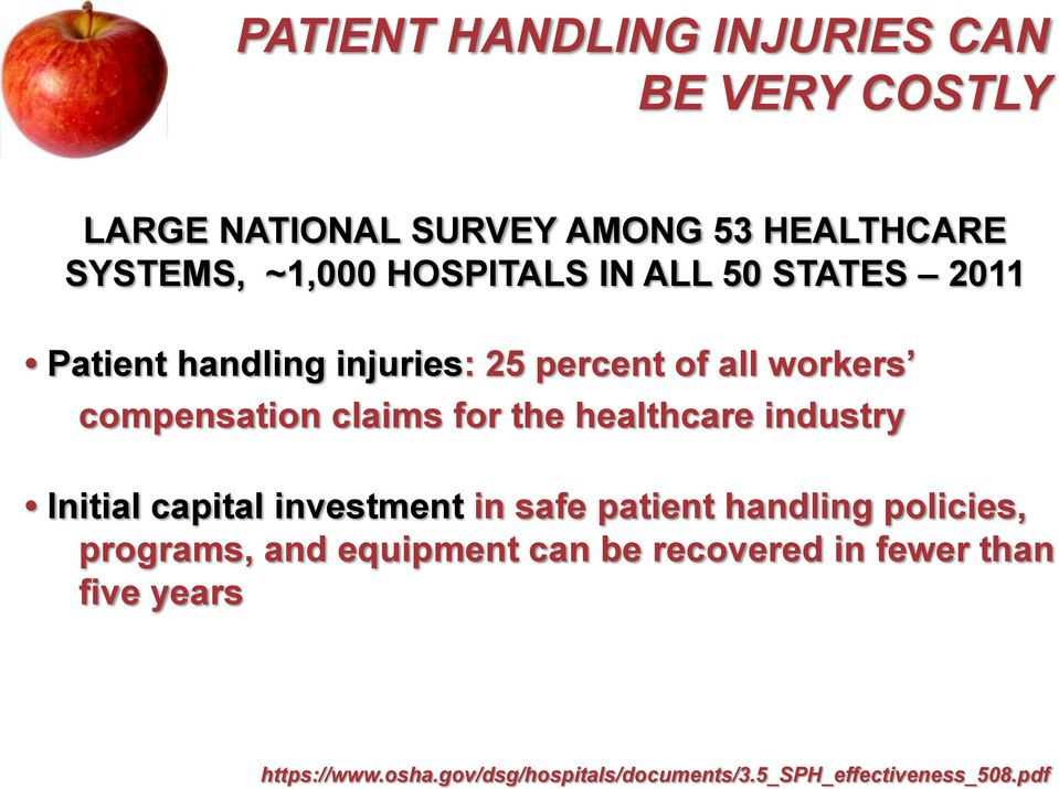 the healthcare industry Initial capital investment in safe patient handling policies, programs, and equipment
