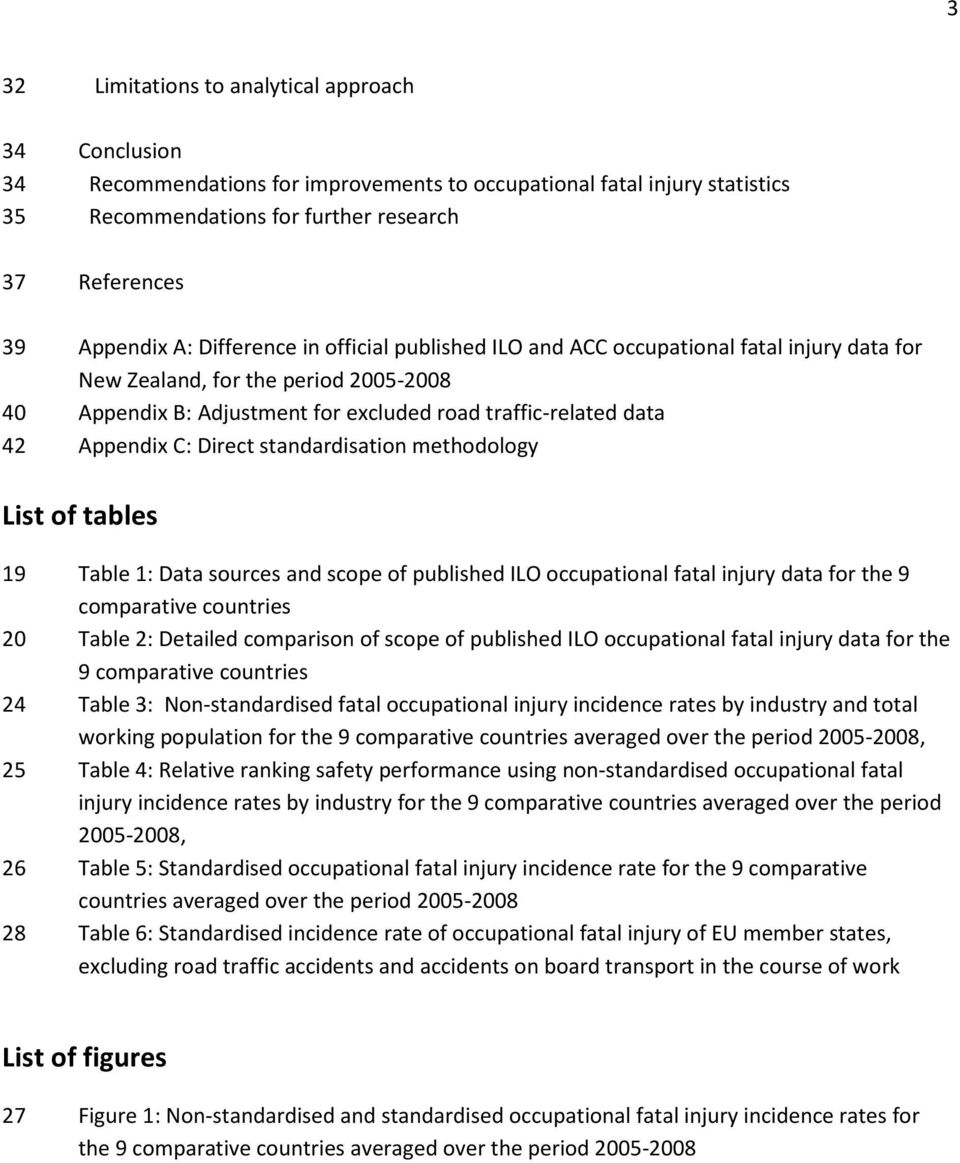Direct standardisation methodology List of tables 19 Table 1: Data sources and scope of published ILO occupational fatal injury data for the 9 comparative countries 20 Table 2: Detailed comparison of