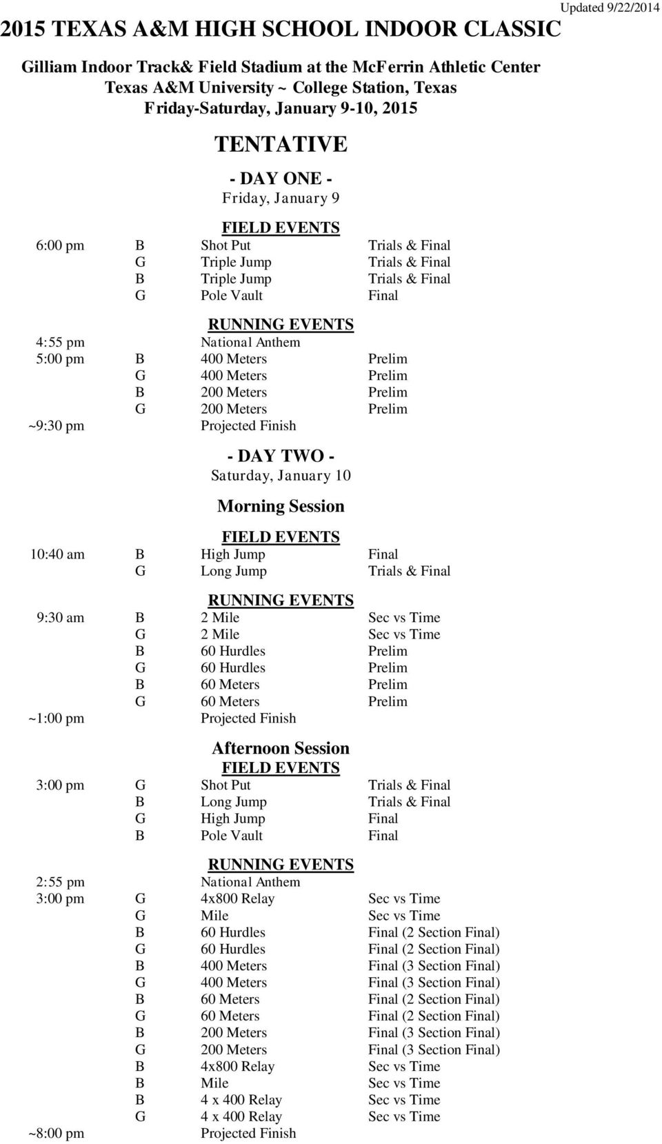 Prelim B 200 Meters Prelim G 200 Meters Prelim ~9:30 pm Projected Finish - DAY TWO - Saturday, January 10 Morning Session FIELD EVENTS 10:40 am B High Jump Final G Long Jump Trials & Final RUNNING