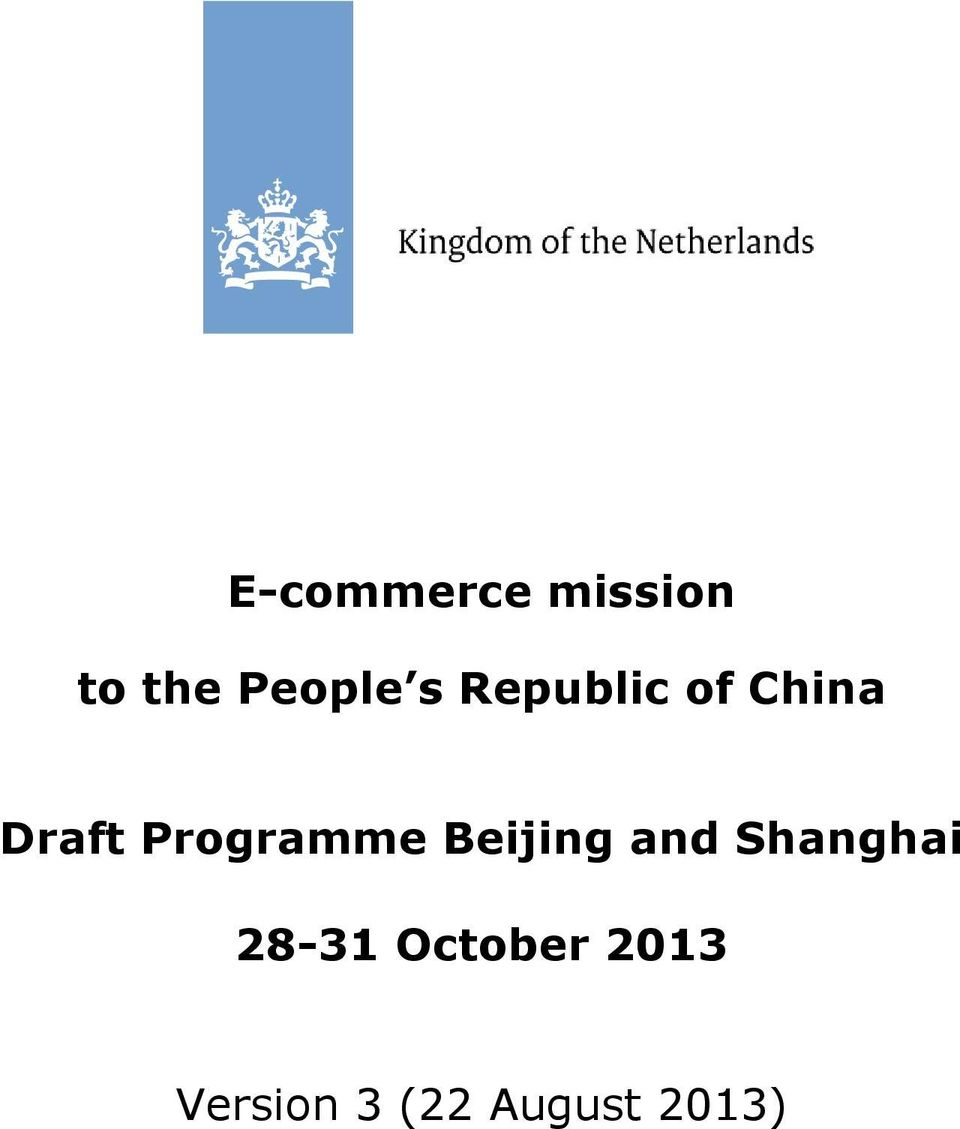 Programme Beijing and Shanghai